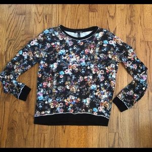 MNG Mango Cotton Pullover Floral Print Sweatshirt
